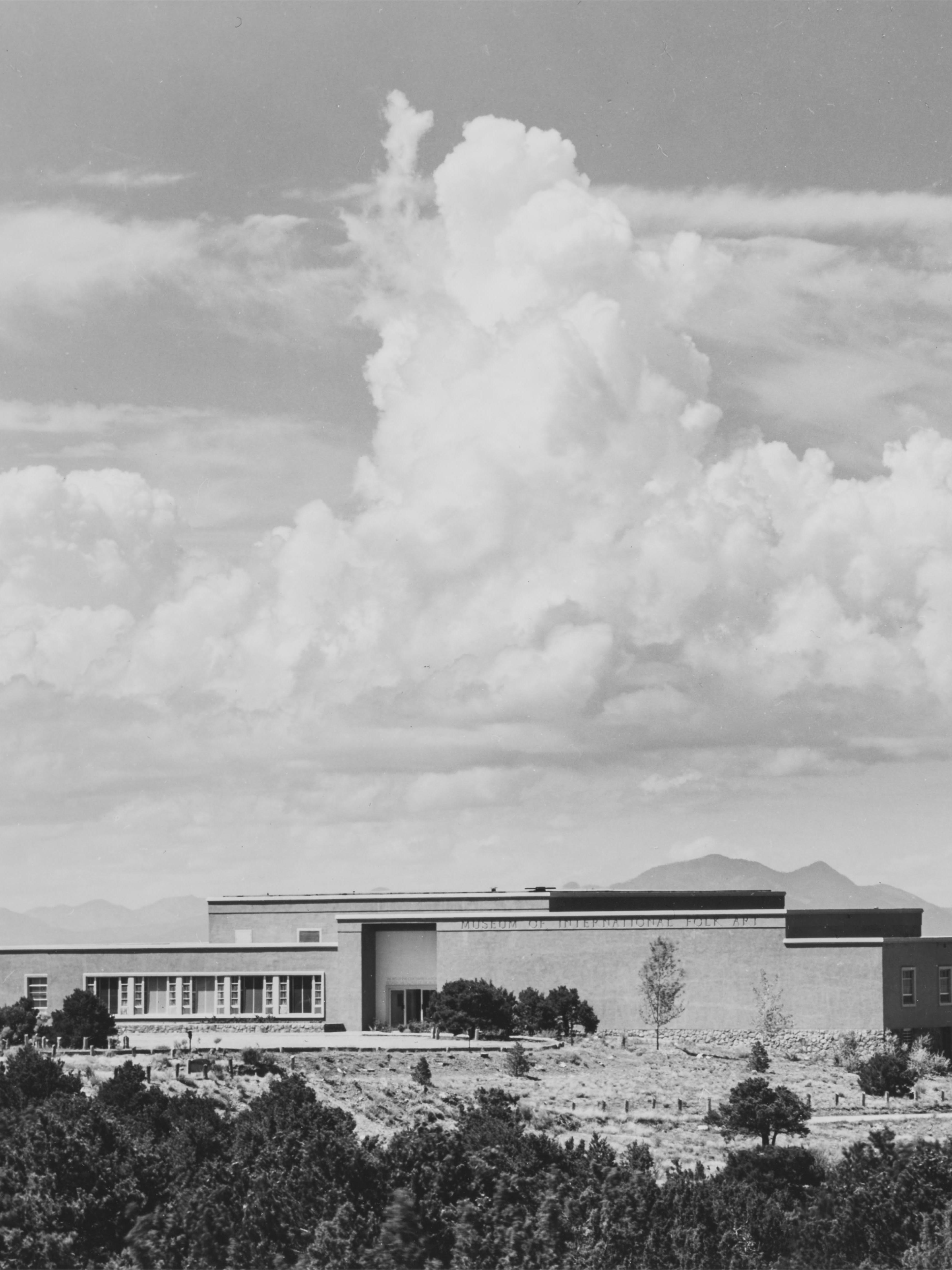 Cropped version of Blair Clark's digital re-photographed image of a Laura Gilpin print of the Museum shortly before opening day in 1953 - We had to crop this to make it fit in the blog space, but the original appears in the main story.
