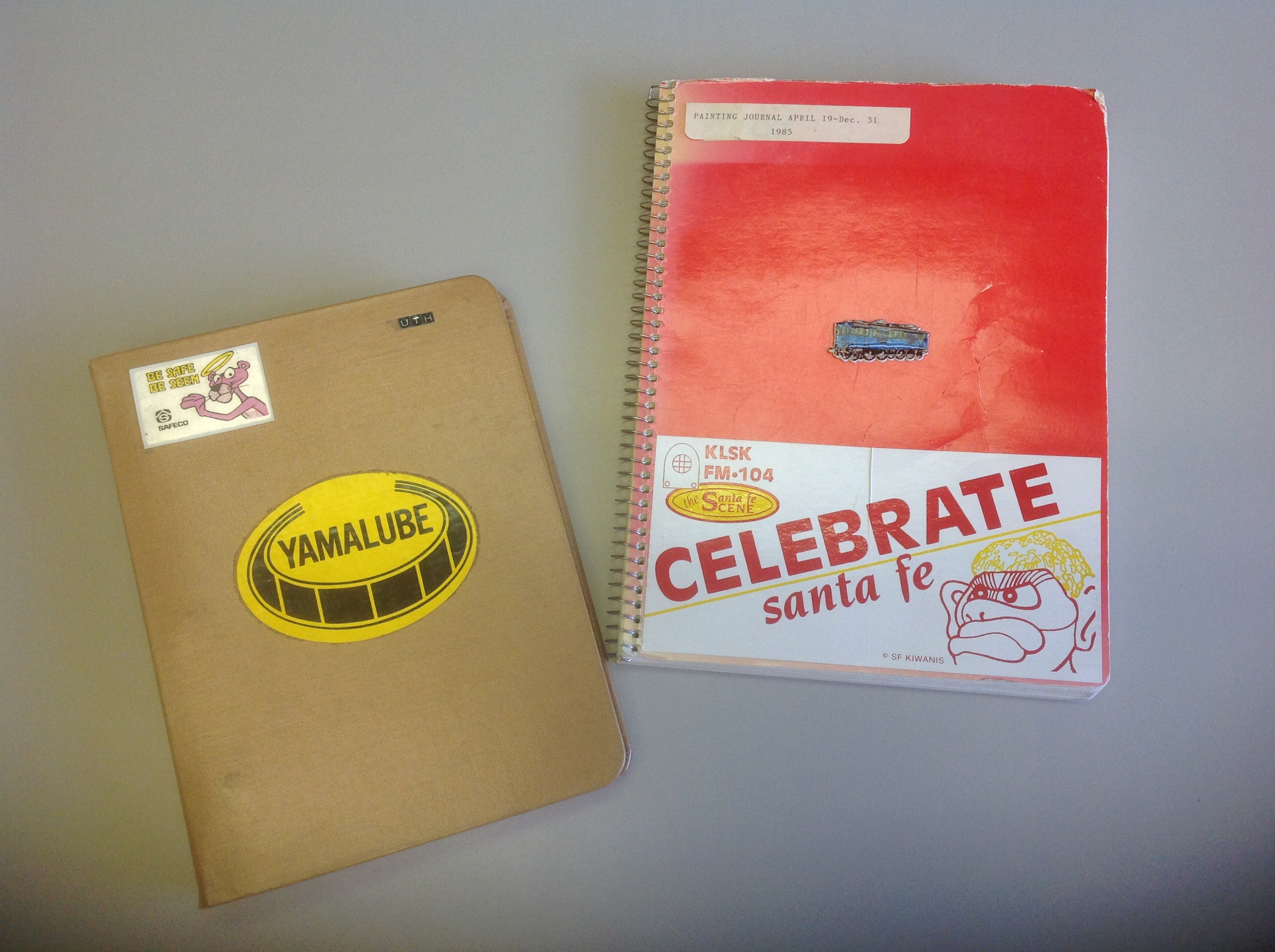 Marcia Muth Painting Journals, plain notebooks embellished with stickers
